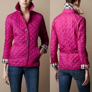 Burberry Brit Purple Fushia Quilted Jacket Size S